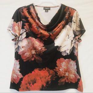 Liz Claiborne Velvety Draped Floral Top